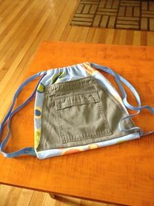 Ezra's knapsack...upcycled cargo pants pocket on some fabric he chose