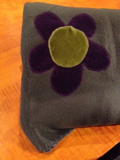 flower appliqued throw