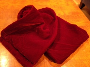 Julia's red velvet scarf