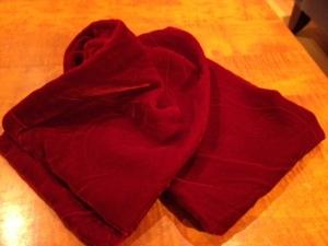 Julia's red velvet scarf